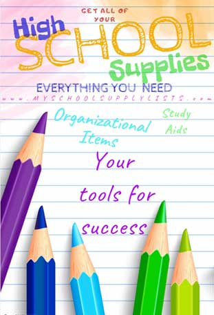 School Supplies List for High School